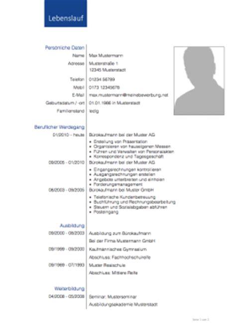 Lebenslauf Unterlagen by Lebenslaufvorlage 2017 2018 Meinebewerbung Net