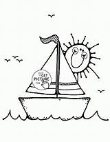 Coloring Sailboat Pages Boat Transportation Printables Wuppsy Boats Colouring Cartoon Printable Sailboats Ship Tags Truck Books Template sketch template