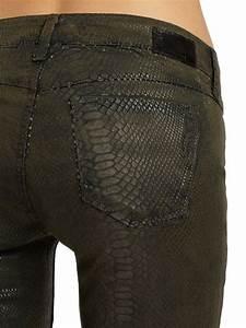 Jeans Pocket Design Sold Design Lab Soho Crocodile Print Skinny Leg Denim