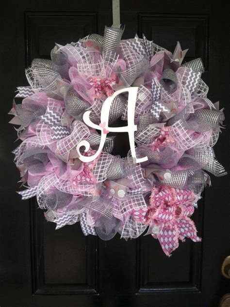 large mesh ribbon wreath baby girl shower nursery hospital door room decor pink white grey