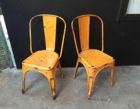 chaise tolix ancienne véritable tolix modèle a orange