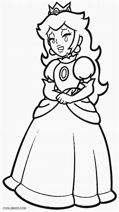 Peach Coloring Princess Pages Mario Kart Printable