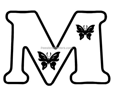 templates to cut out print m letter stencil free stencil letters