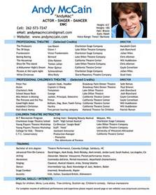 Actor Resumes Exles by Professional Actor Resume 1148 Http Topresume Info
