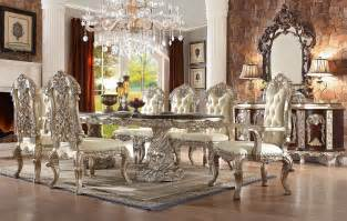 Living Room With Fireplace Design by Homey Design Hd 8017 Cleopatra Double Pedestal Dining Set