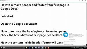 how to remove header and footer from first page in google With google docs first page header