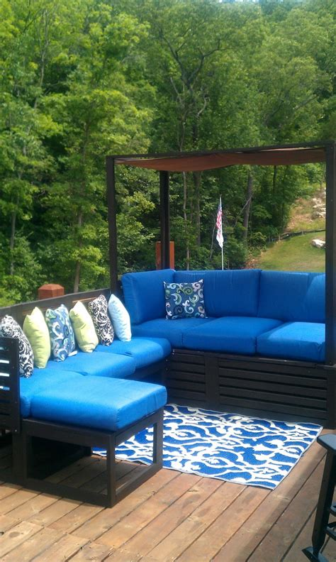 ana white outdoor daybed combined  sectional diy