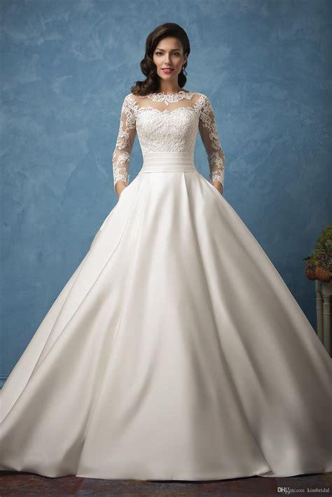 long sleeve ball gown wedding dresses  elegant sheer
