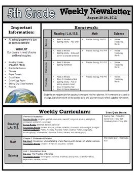 weekly newsletter template weekly homework and curriculum newsletter templates 2 by jodi farbstein