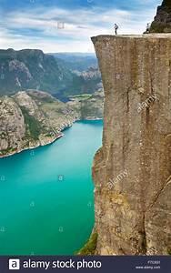 Landscape with single tourist on the Pulpit Rock ...