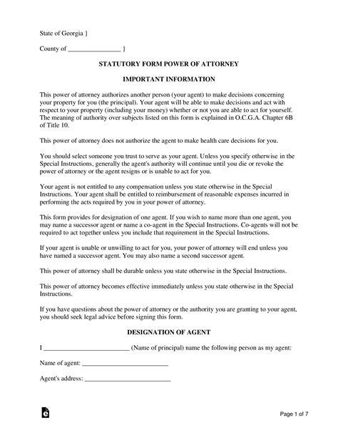 georgia power  attorney forms  word eforms