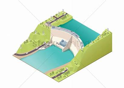 Vector Power Hydroelectric Station Plant Isometric Illustration