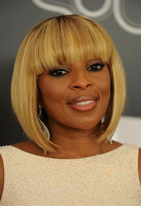 mary  blige trendy short inverted bob cut hairstyles