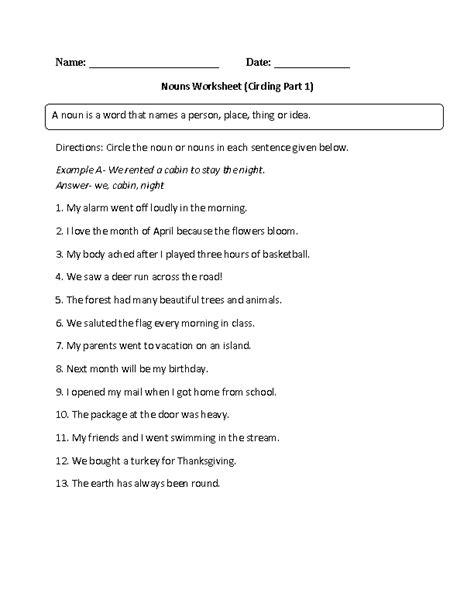 kinds of nouns worksheets worksheets for all