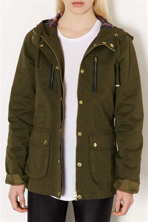 topshop tall hooded lightweight jacket  khaki green lyst