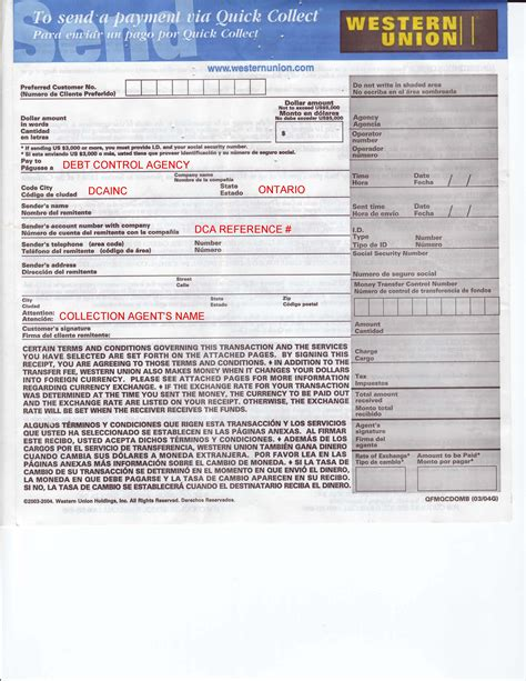 quick collect form dca debt control agency payment western union