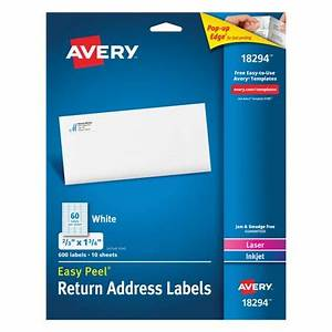 avery easy peel white return address labels 18294 2 3quot x With avery 3 5 x 5 labels