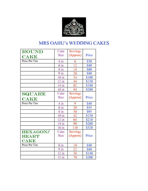 country kitchen sweetart code tiered cake pricing sheet cake sizes and servings chart 8458
