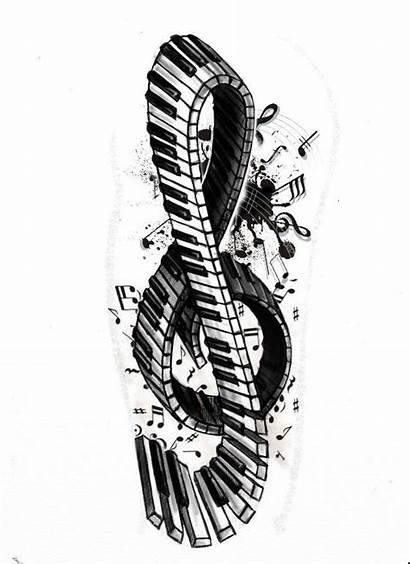 Piano Tattoo Key Violin Note Tattoos Keyboard