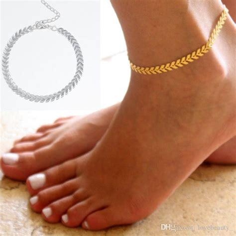 ladies silver gold ankle bracelet chain adjustable
