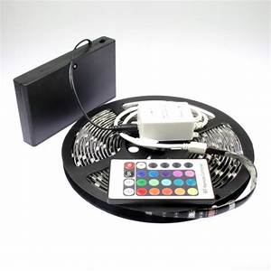 Ruban A Led : kit ruban led rgb piles de 5m avec contr leur 24 touches ~ Edinachiropracticcenter.com Idées de Décoration