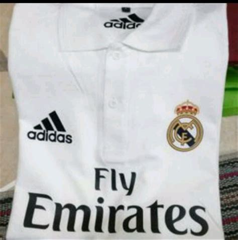 jual polo shirt baju berkerah new white adidas madrid di