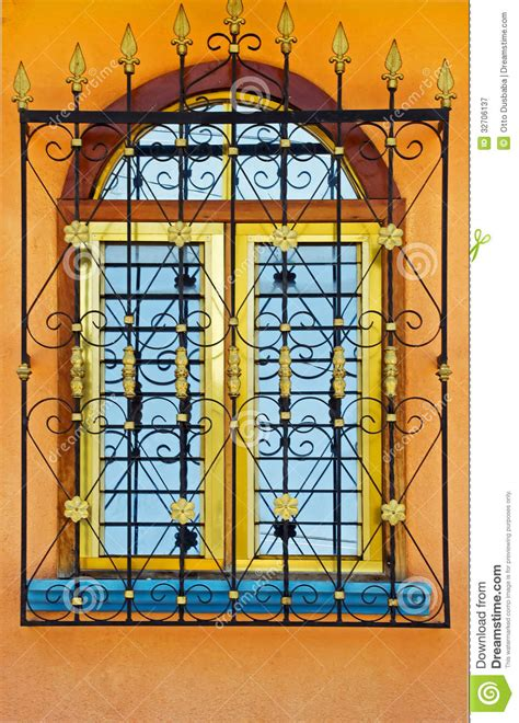 spanish colonial inspired window royalty  stock