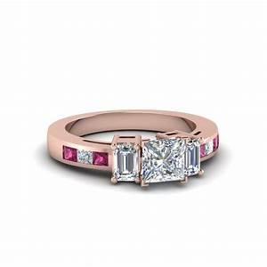 Ravishing channel set engagement rings fascinating diamonds for Princess cut pink diamond wedding rings