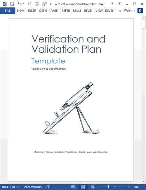 verification  validation plan template ms word