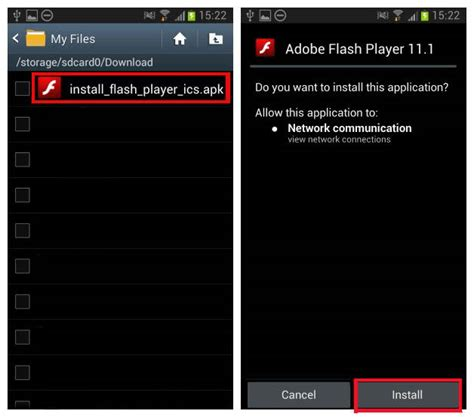 and install adobe flash player apk android free