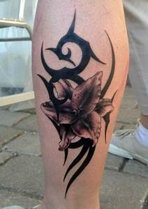 Calf Flower Tribal Tattoo by Andys Tattoo
