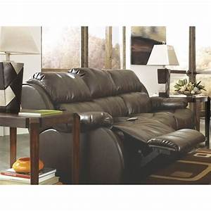 Ashley mollifield leather reclining sofa with drop down for Sectional sofa with drop down table