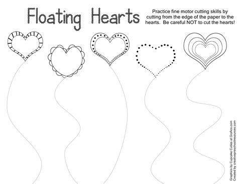 trace amp cut printables creative preschool 461 | heart cutting curved lines page 001