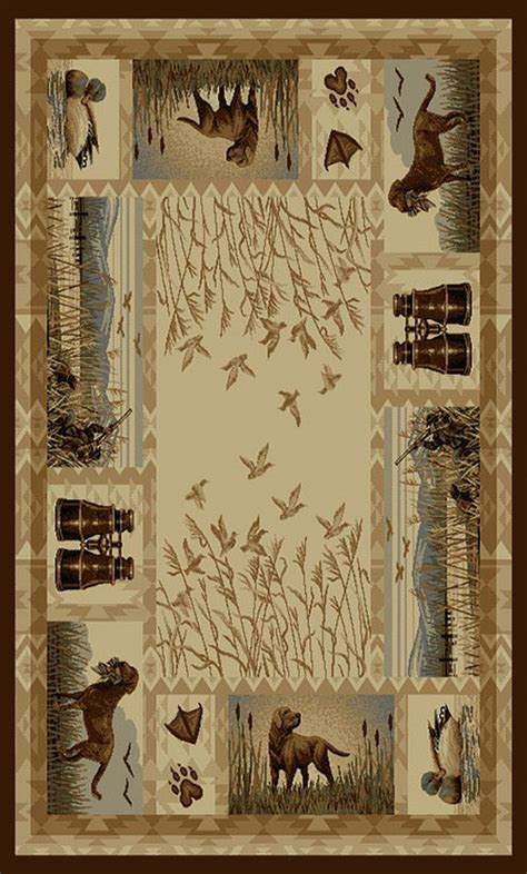 wilderness  duck hunting dogs design area rug lodge