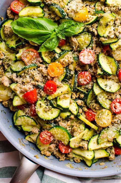 minute healthy ground turkey zucchini skillet