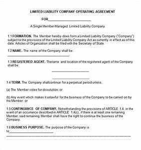 Operating agreement 7 free pdf doc download for Single member llc operating agreement template free