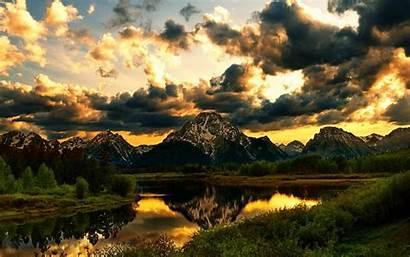 Mountain Clouds Mountains Landscape Sunset Beauty Reflection