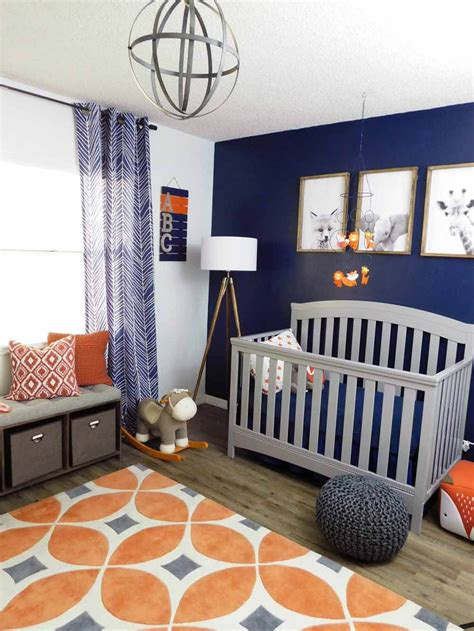 navy gray and orange baby room reveal baby room colors