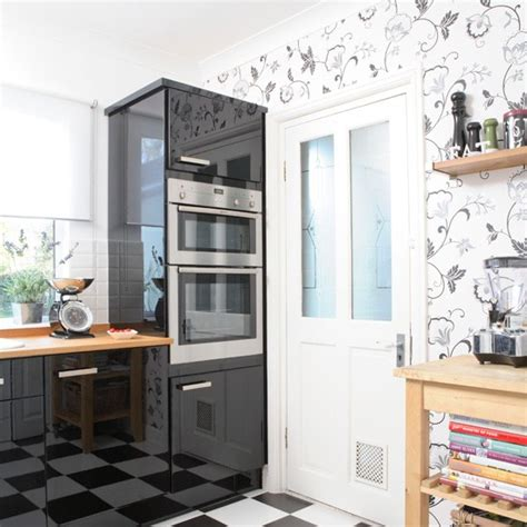 wallpaper in kitchen ideas monochrome modern kitchen kitchen wallpaper ideas 10 of the best housetohome co uk