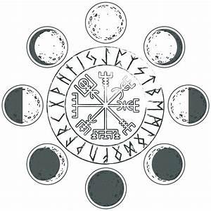 Dessin Symbole Viking : lunes runes cycle lunaire avec galdrabok la boussole viking symbole de protection et d ~ Nature-et-papiers.com Idées de Décoration