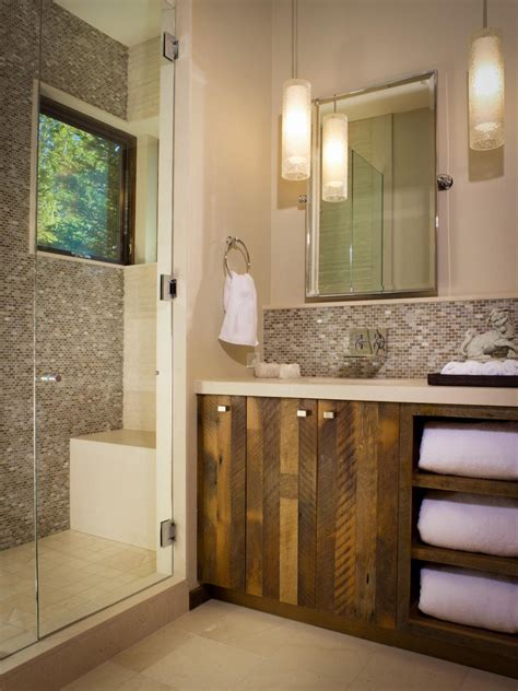 walk  shower features beautiful mosaic tile wall hgtv