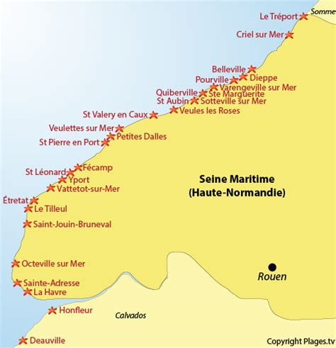 Carte De Plage Normandie by Plages Seine Maritime 76 Liste Des Stations Baln 233 Aires