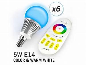 Led Lamp 5 Watt : applamp set of 6 rgbw 5 watt e14 led light bulbs remote control applamp ~ Markanthonyermac.com Haus und Dekorationen