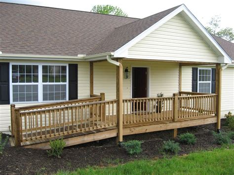single family home  wood ramp  front entry   mobile home porch house  porch