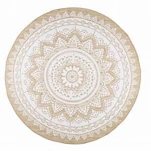 Tapis Blanc Rond : tapis rond en jute et coton blanc d180 boh me tapis jute tapis mandala et tapis jute rond ~ Dallasstarsshop.com Idées de Décoration