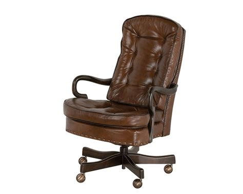 goose neck tufted swivel tilt office chair classic leather