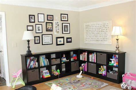 Toy Storage In Living Room With L Shape Ideas Home