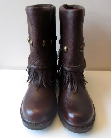 battle boots brown with studs and tassles