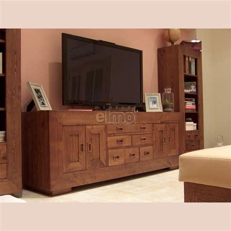 grand buffet meuble television rustique tout bois massif clara