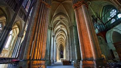 Cathedral France Columns Nave Reims Column 2k